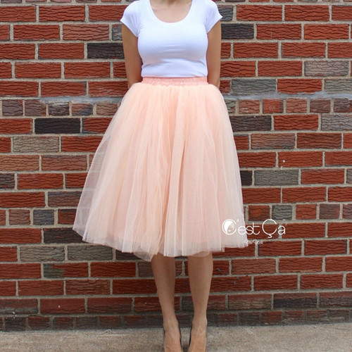 Blush Peach Tulle Skirt
