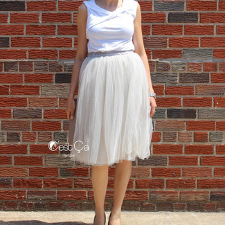 Dove Gray Tulle Skirt