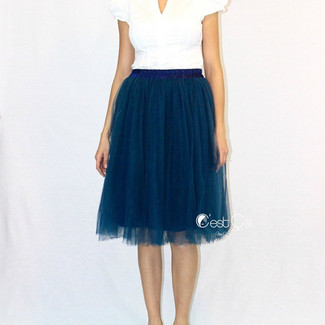 Navy Blue Tulle Skirt