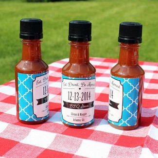 Eat, Drink & be Married Quatrefoil BBQ Sauce Labels