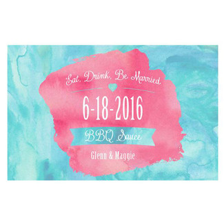 Eat, Drink & Be Married Pink Watercooler BBQ Sauce Labels