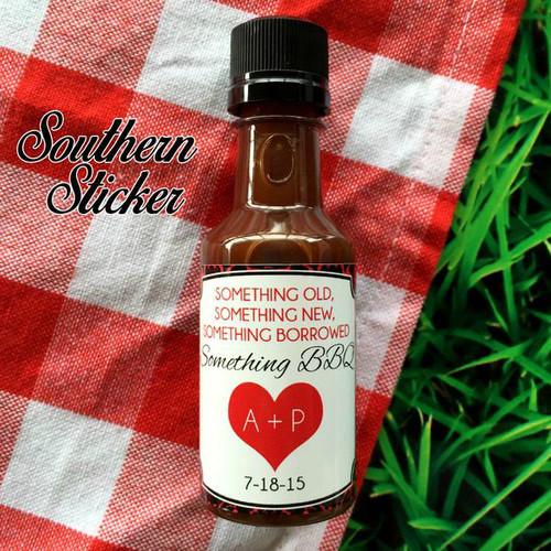 Something Damask Wedding BBQ Sauce Labels