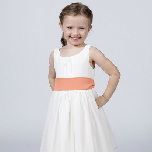 White Flower Girl Dress with Sash