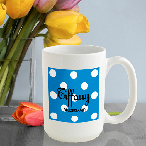 Personalized Bridesmaid Coffee Mug - Sapphire