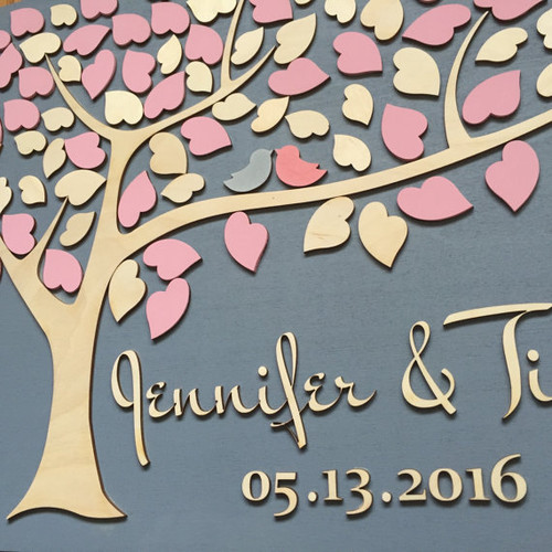 Tree of Hearts and Love Birds Wedding Guestbook