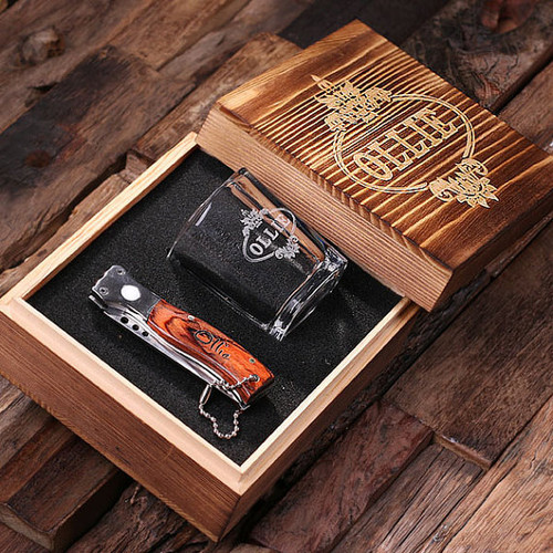 Engraved Knife & Shot Glass with Personalized Box