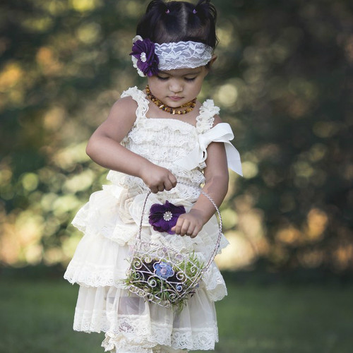 Plum Burlap Lace Dress