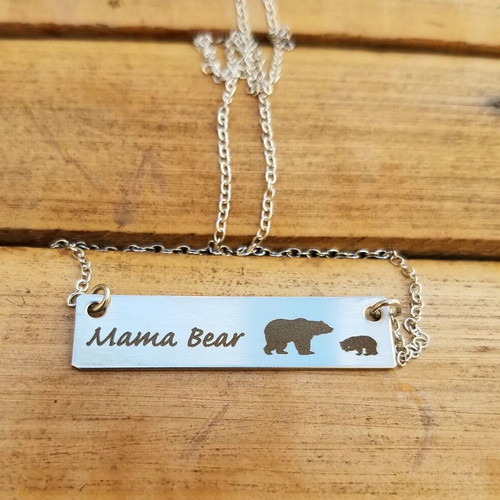 Mama Bear with One Cub Necklace