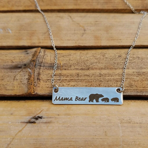 Mama Bear with Two Cubs Necklace