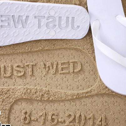 Personalized Just Wed Flip Flops