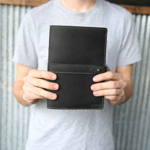 The Inventor Personalized Black Fine Leather Journal Notebook