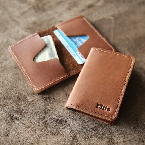 Personalized Groomsmen Fine Leather Business Card Holder