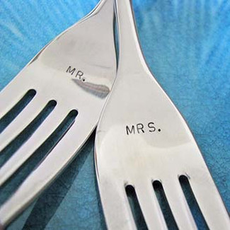 Custom Wedding Cake Fork Set