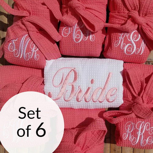Bridesmaid Waffle Robes Set of 6