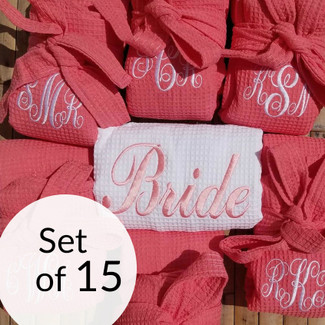Bridesmaid Waffle Robes Set of 15