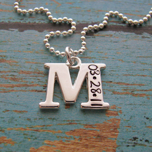 Personalized Initial Necklace with Wedding Date (in copper)