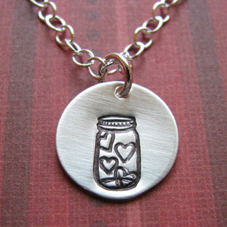 Sterling Jar of Hearts Necklace