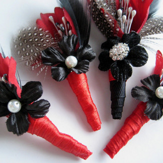 Rockabilly Groom and Groomsmen Boutonnieres -Set of 4