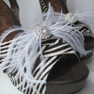 Ostrich Feather Shoe Clip