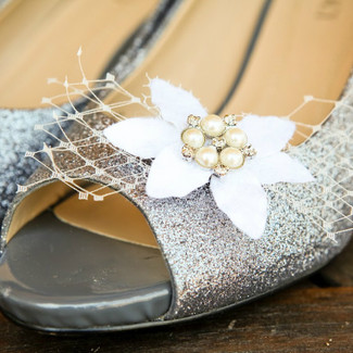 French Veil Shoe Clips with Vintage Millinery
