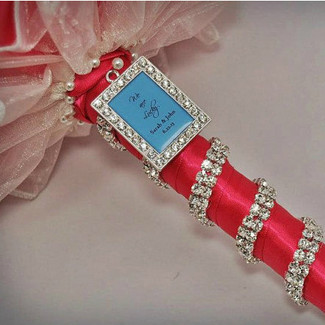 Wedding Rectangle Bouquet Charm w/ photo
