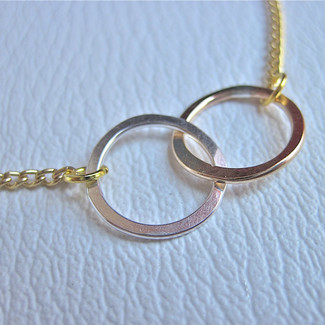 Hammered Sterling Silver and 14k Gold Infinity Necklace