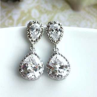 Pear Drop Luster Rhodium Plated Bridal Earrings