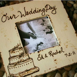 Our Wedding Day Rustic Picture Frame