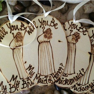 Be My Bridesmaid Wood Tags/Ornaments - Set of 5