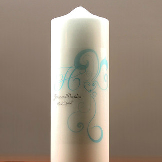 Heart Filigree Personalized Pillar Candles