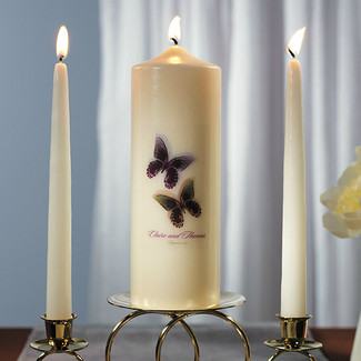 Beautiful Butterflies Personalized Pillar Candles