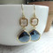 Champagne Peach and Dark Sapphire Blue Framed French Drop Earrings
