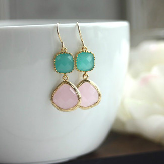 Mint and Pink Opal Framed Glass Drop French Dangle Earrings