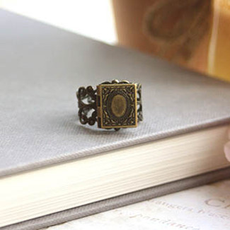 A Tiny Librarian Locket Ring