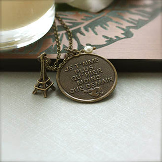 I Love You More Today Than Yesterday, Eiffel Tower Necklace.