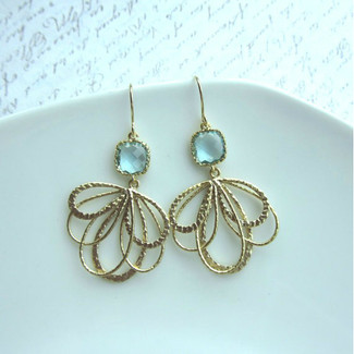 A Gold Plated Leaf Feather Dangle Earring