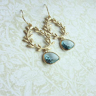 Gold Plated Laurel Wreath and Aqua Blue Dangle Earrings