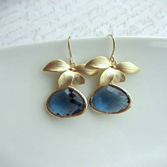 Matte Gold Plated Orchid Flower and Dark Sapphire Drop Earrings