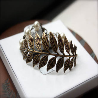 Oxidized Brass Leaf Branch With Ivory Swarovski Pearls Cuff Bracelet