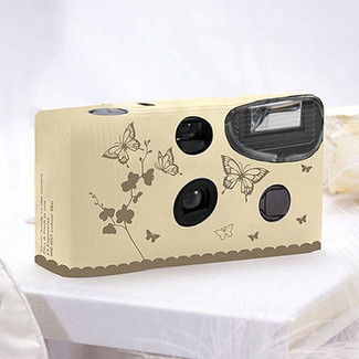 Butterfly Garden Ivory & Gold Single Use Camera