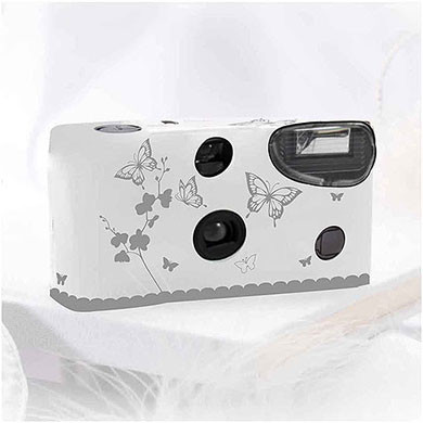 Butterfly Garden White & Silver Single Use Camera