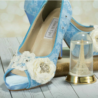 Blue Lace Wedding Shoes w/ Handmade Flower