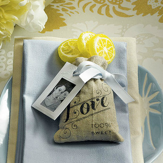 Mini Linen Drawstring Pouch w/ Love Print - 36ct.