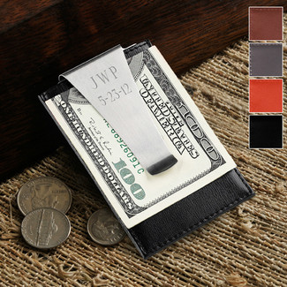 Leather Money Clip and Credit Card Holder