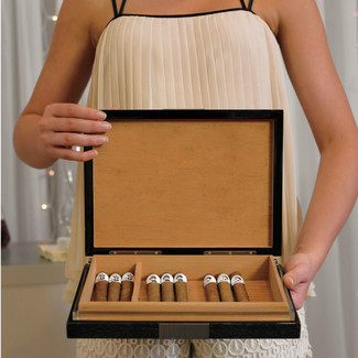 Personalized Premium Cigar Humidor w/ Hydrometer and Humidifier