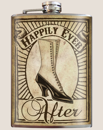 "Bridesmaid ""Happily Ever After"" Flask - 8 oz. stainless steel"