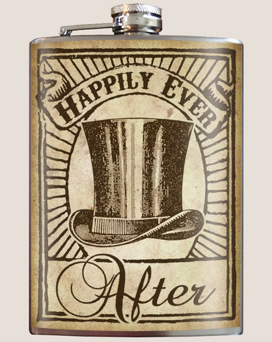 "Groomsmen ""Happily Ever After"" Flask - 8 oz. stainless steel"