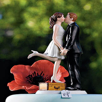 """A Kiss And We're Off!"" Wedding Cake Topper"