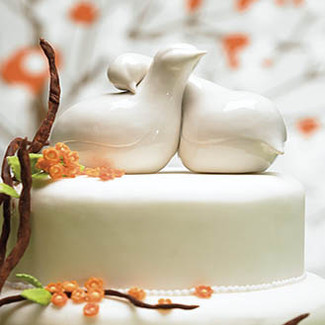Contemporary Love Birds Wedding Cake Topper