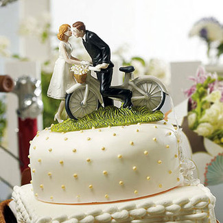 Bicycle Bride & Groom Wedding Cake Topper